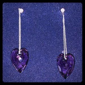 Swarovski crystal earrings Purple Heart/ silver